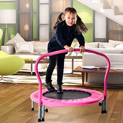 Snowve Indoor Fitness Trampoline für Kinder, Fitness-Trampolin Training wie im Fitness-Studio Trainer Workout für Erwachsene Rosa