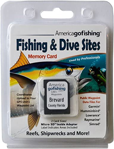 America Go Fishing - Fishing and Dive Sites Memory Card - Brevard County Florida