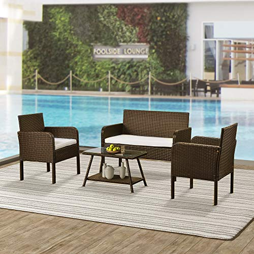 4 Pieces U_Style Outdoor Ratten Sofa Set, Patio Furniture Sets Cushioned Garden Sofa Set with Glass Coffee Table for Outdoor Indoor Backyard Garden (Brown + Beige)