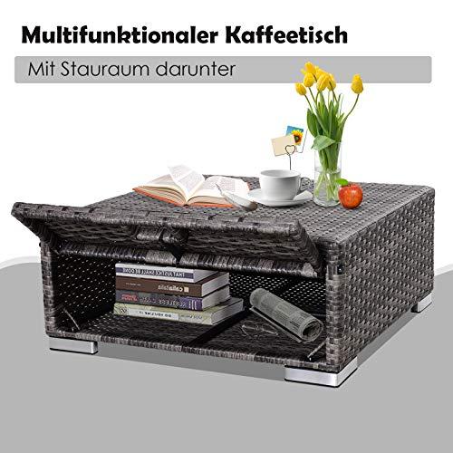 Outsunny Dreiteiliges Gartenmöbel Set, Sofa, Beistelltisch mit Stauraum, 5-Stufig Rückenlehne, PE-Rattan, Grau, (Sofa) 130 x 64 x 62 cm - 2