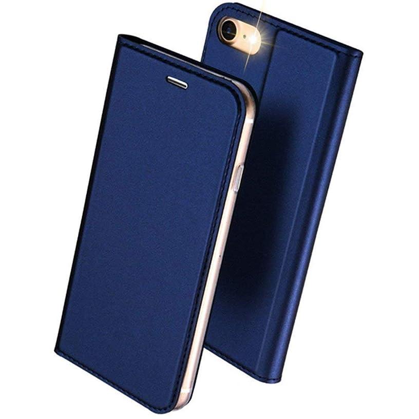 ピンポイントカブ告発DUXDUCIS iPhone7 iPhone8 ケース 手帳型 合皮レザー 耐衝撃 カード収納 ブルー
