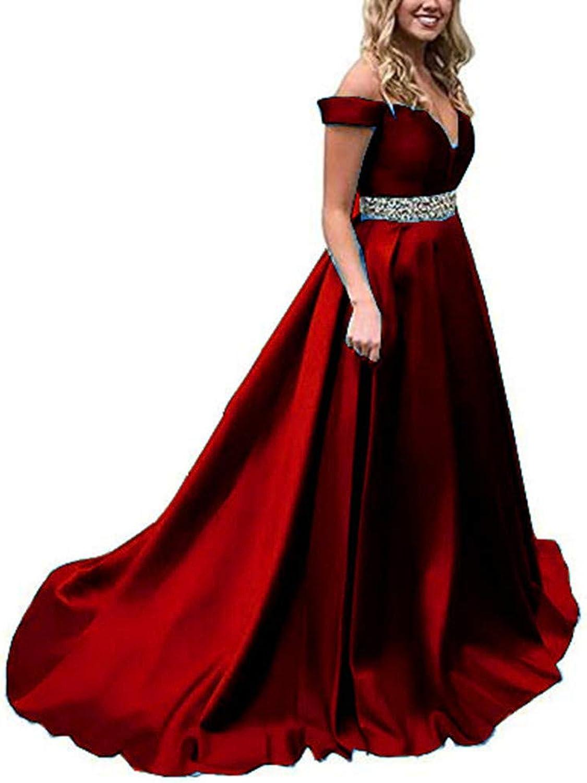 Yuki Isabelle Off Shoulder Long Prom Evening Dresses ALine Satin Formal Maxi Dress