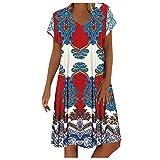 XOXSION Vestido de playa vintage bohemio floral para mujer, vestido de verano con cuello en V y manga corta, estilo casual