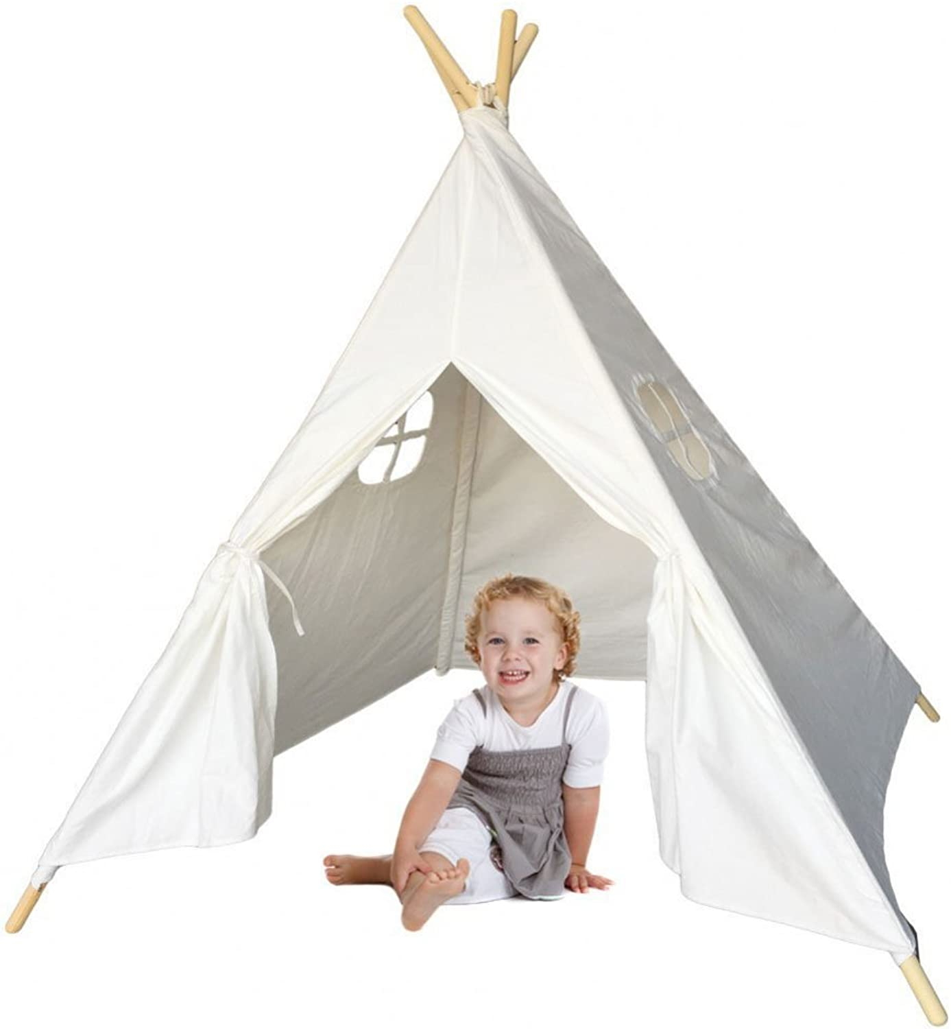 MakBB Indoor Weiß Teepee Tent Play Playhouse Tents Canvas for Kids with Carry Case by MakBB B01JNJUBWU  Neues Design | Clearance Sale