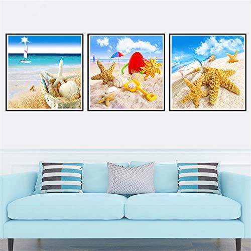 Diamond Painting Kit Completo,3 Pezzi Kit Diamond Painting spiaggia,DIY 5D Pittura Diamante per Bambini e Adulti, Fai Da Te Quadri con Perline Artigianato per Parete Soggiorno Decorazione 60x60cm