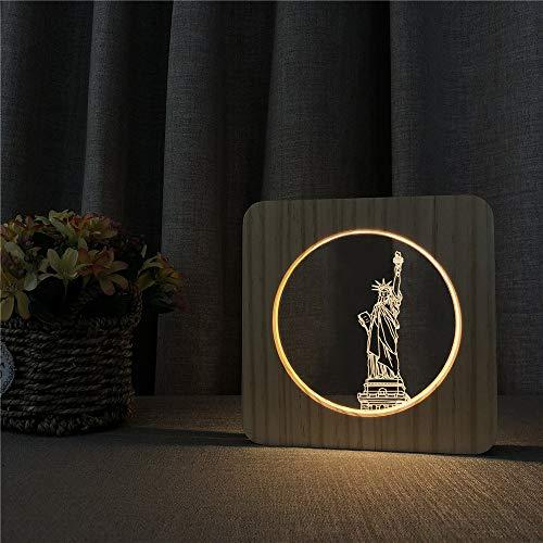Freiheitsstatue Gebäude Acryl Nachtlichter Tischlampe Schalter Steuert Carving Lichter für Kinderzimmer Dekoration