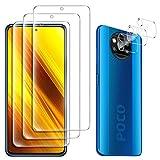 GESMA pour Xiaomi Poco X3 NFC Verre Trempé (3 pièces) et protecteur de caméra (3 pièces), Anti Rayures 9H verre trempé pour Xiaomi Poco X3 NFC (Transparent).