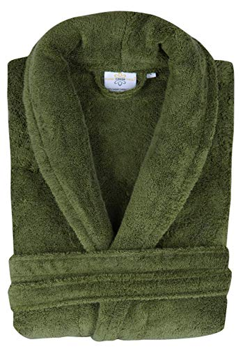 Classic Turkish Towels Luxury Terry Cloth Hotel Bathrobe - Premium 100% Turkish Cotton Robe Unisex (Green, Medium)