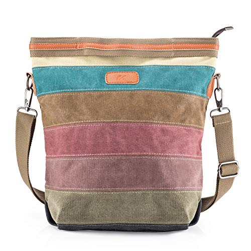 SNUG STAR Handtasche Damen,Canvas Tasche Damentasche Multi-Color-Striped Umhängetasche Damen Groß Schultasche Canvas Shopper Tasch Muttertag Geschenk Hobo Bag (A stylen)