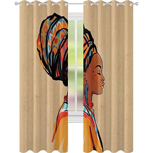 Cortinas opacas con aislamiento térmico, mujer con pendientes de plumas exóticas y bufanda Zulu Hippie, cortinas de 52 x 84 para sala de estar, dormitorio, merigold caramelo
