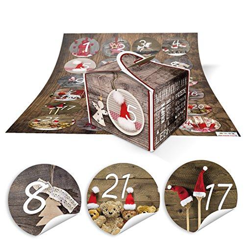 DIY Adventskalender Weihnachten Bastel-Set: 24 kleine braune VINTAGE Engel Mini-Schachteln Boxen 8 x 6,5 x 5,5 + rot natürliche FOTO-MOTIVE Zahlen-Aufkleber 1 bis 24 selber-machen-befüllen