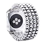 KAI Top Compatible for Apple iWatch Band 38mm 40mm 42mm 44mm,6mm Hematite Beaded Elastic Band Comptible with iWatch Series 5 4 3 2 1,Beaded Stretch Bracelet Replacement Strap Band for Women Girls