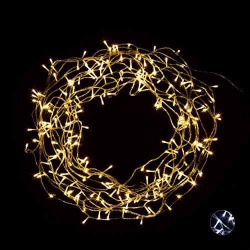 Relaxdays LED Lichterkette innen, 200 LEDs, strombetrieben, 8 Leuchtmodi, Dekolichterkette Zimmer, 27,9 m lang, warmweiß