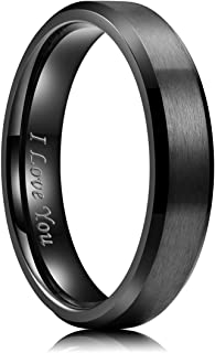 King Will 4mm/5mm/6mm/7mm/8mm Stainless Steel Ring Black Plated Matte Finish&Polished Beveled Edge with Laser Etched I Lov...
