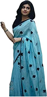 Nancy Fab Women's Heart Shape Embroidery Linen Sarees with Blouse Piece