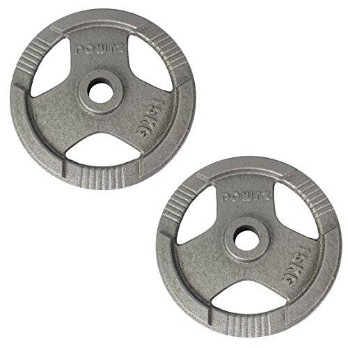POWRX Discos olímpicos 30 kg Set (2 x 15 kg) - Pesas Ideales para Mancuernas y Barras olímpicas con diámetro 50 mm (Plata)