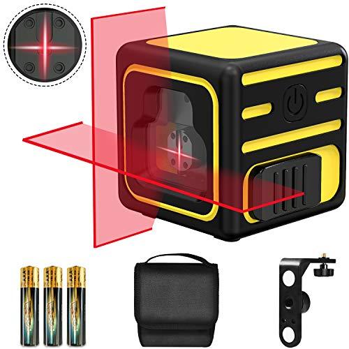 Nivel láser, papasbox 20M Nivelador Láser Horizontal y Vertical, Nivel láser autonivelante de con modo Manual, Soporte Giratorio Magnético, Bolsa Portáti y 3 Pilas Incluidas - IP54