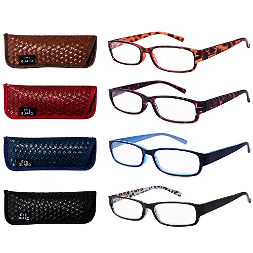 EYEGUARD Readers 4 Pack of Thin and Elegant Womens Reading Glasses with Beautiful Patterns for...