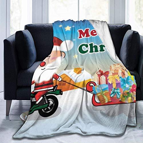 KENDIA Santa Claus da Regalos Manta de Franela Ultra Suave Suave y antipilling Peluche Acogedor para el sofá Cama Sofá Campamento