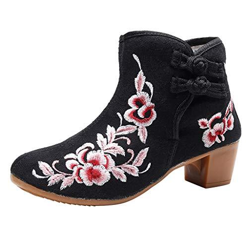 Yowablo Booties Frauen bestickte Knöchel nackte Schnalle Square Heel Casual Short Boots (38,Schwarz)