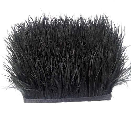 ERGEOB Straußfeder Stoffstreifen 2 Meter - Ideen für die Bekleidung, Kostüme, Hüte schwarz