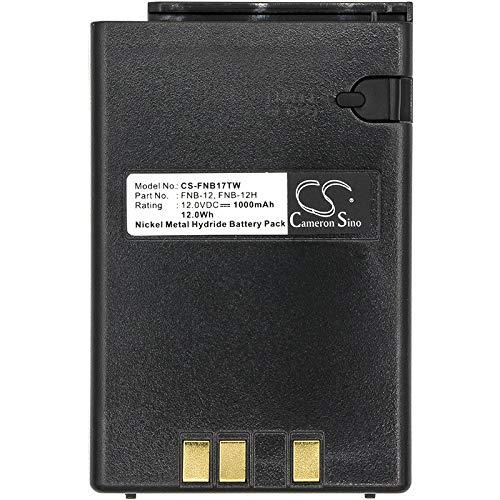 CS-FNB17TW Batería 1000mAh Compatible con [Vertex] FT-23R, FT-33R, FT-411, FT-411 Mark II, FT-470, FT-73R, FT-811, FT-911, FTH-2005, FTH-2008, FTH-2010, FTH-7005, FTH-7008, FTH-7010, [YAESU] FT-23R,