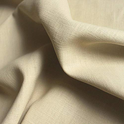 TOLKO 50cm Leinen-Stoff als Meterware | blickdichter Naturstoff | für Hose Rock Bluse Kleider Gewänder | fein gewebter Dekostoff für Vorhänge Gardinen und Dekorationen | 140cm breit (Sand-Beige)