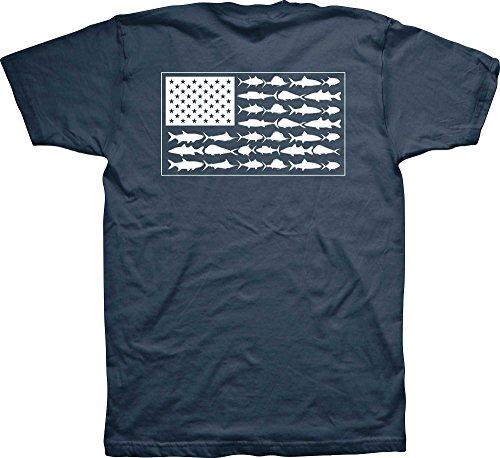 Columbia PFG Americana Saltwater Fish Flag T-Shirt (XL, Columbia Navy)
