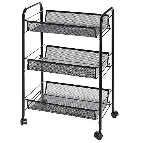 3 Tier Rolling Storage Cart with Wheels, ikoerHouse Utility Metal Mesh Trolley Organizer with Wire Basket Shelving for Homeschool Office Kitchen Bathroom Bedroom and More, Black 3 Shelves