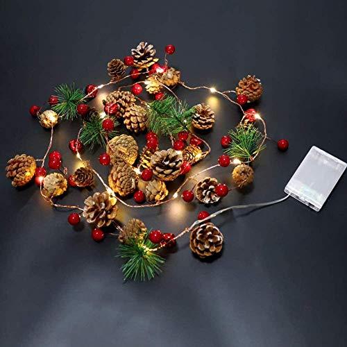 Guirnalda de luces navideñas de 6.56 pies con piña roja y campana de bayas, guirnalda de Navidad con luces de hadas con control remoto,guirnalda de conos de pino