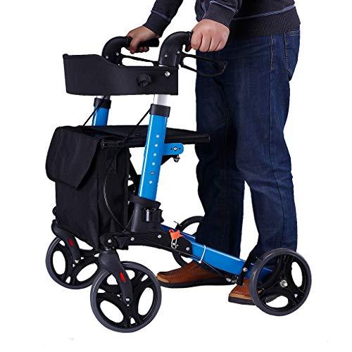 CHenXy Aluminiumlegierungs-Wanderer for die älteren Personen, behinderter einfacher Rollstuhl-Leichter justierbar mit Bremsgurtsitz Warenkorb medizinische Walker (Color : Blue)