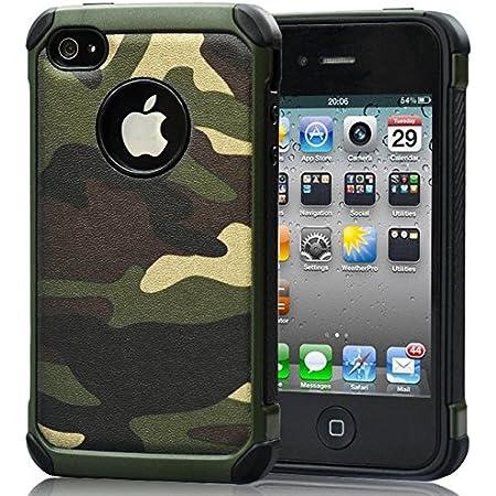 FDTCYDS Coque iPhone 4, Premium Glamoures Etui Autocollant pour iPhone 4s Peau Feuille de Paillettes Coque Housse Protecteur Specials en Camo Green