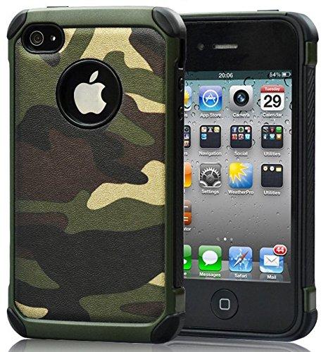 FDTCYDS iPhone 4 Hülle,iPhone 4s Camouflage Hülle,Einfach Slim Fit Schwerlast Schutz Ultra Hybrid Camo Rüstung handys Taschen Schalen Hülle für iPhone 4 / 4s - Grün