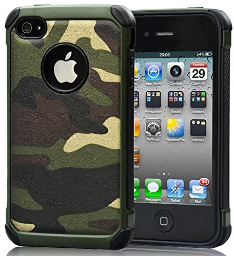 FDTCYDS iPhone 4 Case,Armor Hybrid Rugged Camouflage Case for Apple iPhone 4 / 4S - Camo Green