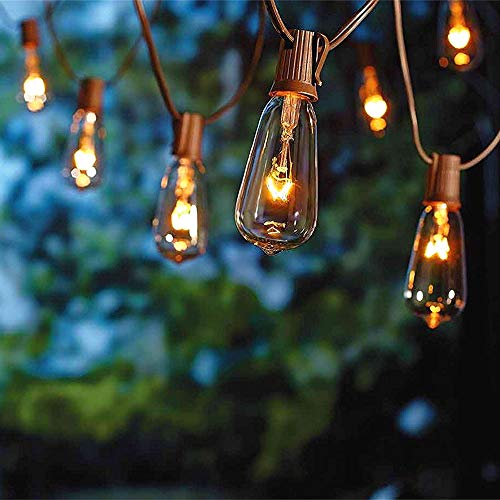 SUNSGNE 20Ft Outdoor Patio String Lights with 20 Clear Edison ST40 Bulbs (Plus 2 Extra Bulb), UL Listed C9 Light String for Backyard, Deckyard, Party, Pergola, Bistro, Porch, Pool Umbrella. Brown Wire