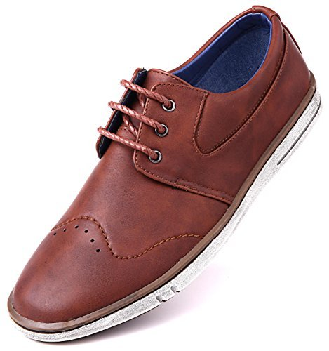Mio Marino Men Casual Oxford Shoes - Comfortable Business Fashion Mens Casual Dress Shoes - Mahogany - 10 D(M) US