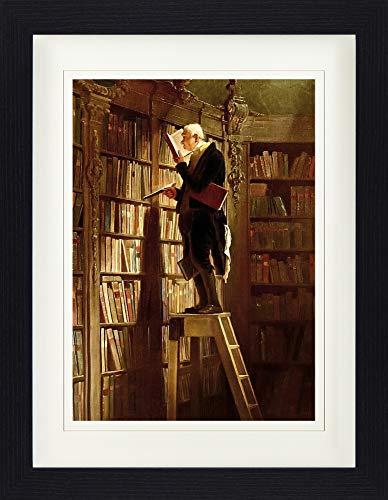 1art1 Carl Spitzweg - Der Bücherwurm, 1850 Gerahmtes Bild Mit Edlem Passepartout | Wand-Bilder | Kunstdruck Poster Im Bilderrahmen 40 x 30 cm