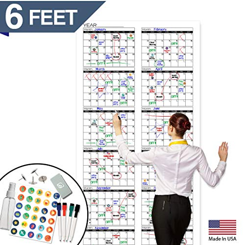 """Large Dry Erase Wall Calendar - Premium Giant Reusable Yearly Calendar - Oversized Whiteboard Annual 12 Month UNDATED Planner - 36""""x72"""""""