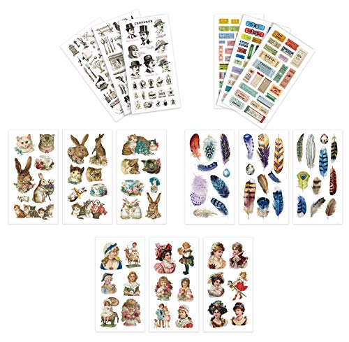 CYJZHEU Washi Stickers Vintage, 15 Sheets Scrapbook Vintage Stickers Washi Paper Planner Stickers Stickers Stamps Feathers Old objects Ladies Pattern for Diary Notebooks Arts Kids DIY Crafts
