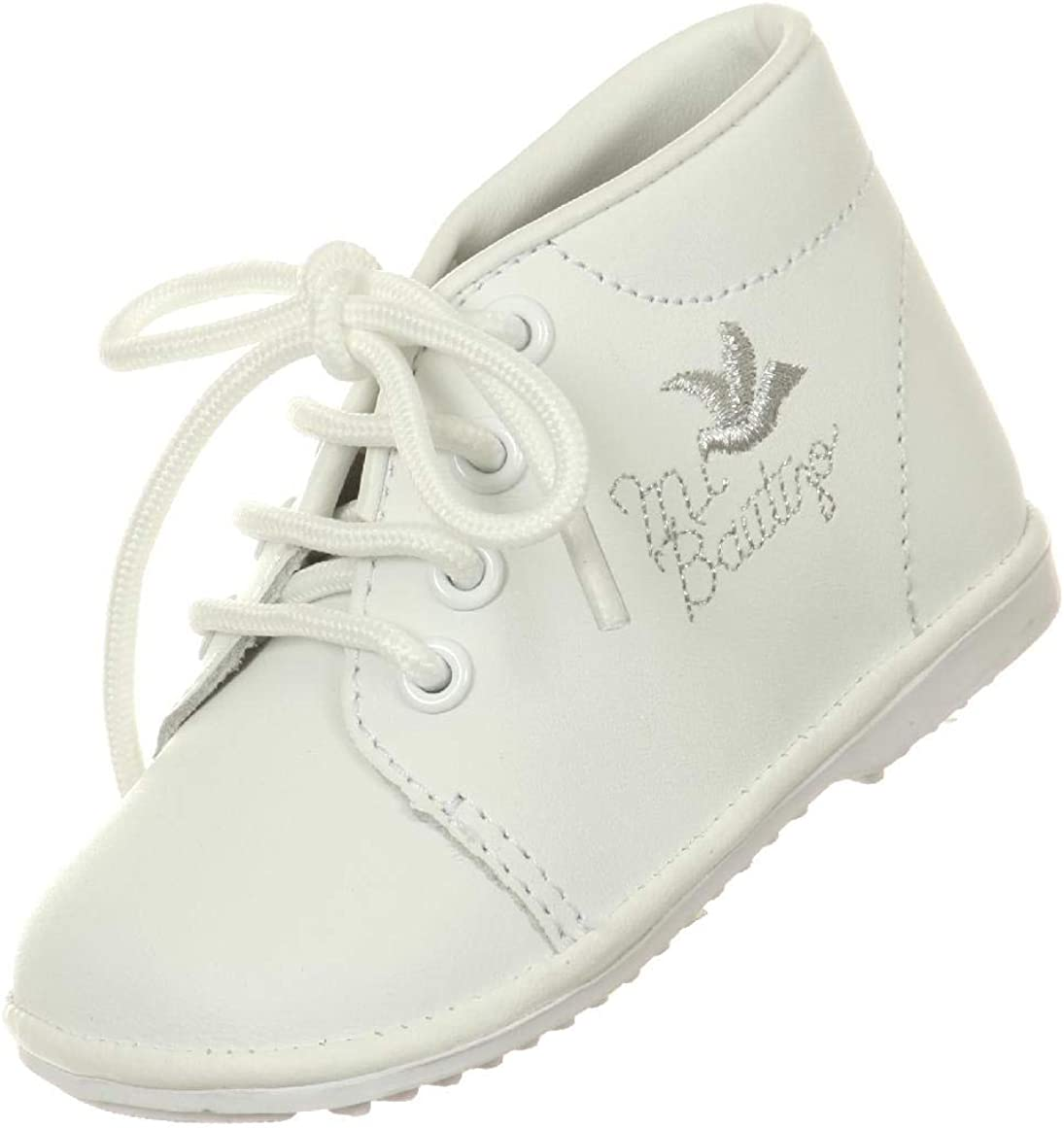 White Baby Toddler Boys Christening Baptism Ankle Shoes Oxford Embroidered Dove Bautizo