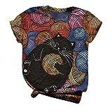 CHMORA Camiseta para mujer, diseño de gato personalizado con impresión de cuello redondo, color sólido, manga corta, regalo para mujer