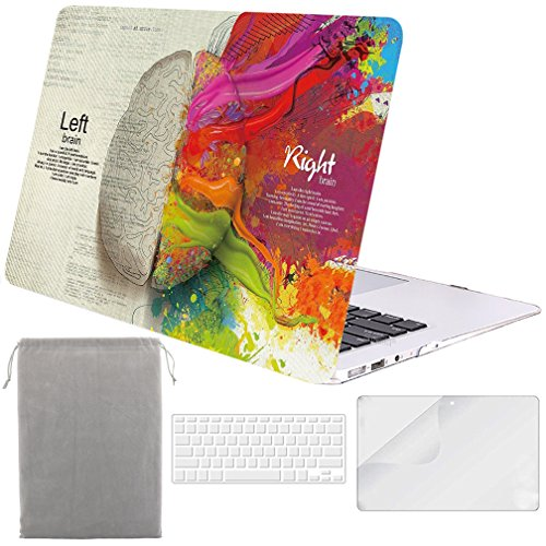 Sykiila for MacBook Air 11 Inch Case 4 in 1 Hard Shell Case & HD Screen Protector & Sleeve & TPU Keyboard Cover for Model A1370 / A1465 - Paint Left Right Brain