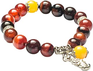 Feng Shui The Best 10mm Natural Agate Beads Bracelet with Silver Plated Pi Xiu/Pi Yao Amulet Bangle Attract Lucky Wealthy