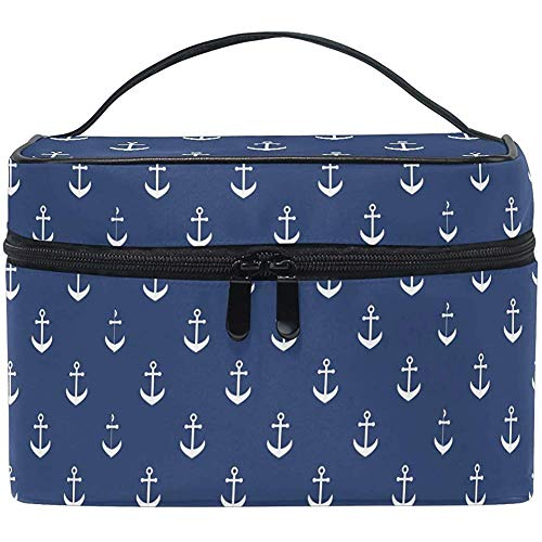 Nautique Marine Strip Makeup Bag Pattern Cosmetic Bag Toiletry Travel Brush Train Case for Women