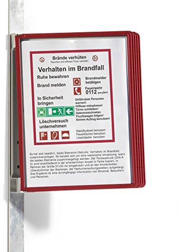 Durable 591403 Sichttafelwandhalter (Vario Magnet Wall 5, mit 5 Sichttafeln A4) rot