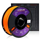 Overture TPU Filament 1.75mm Flexible TPU Roll with 200 x 200 mm Soft 3D Printer Consumables, 1kg Spool (2.2 lbs.), Dimensional Accuracy +/- 0.05 mm, 1 Pack (Orange)