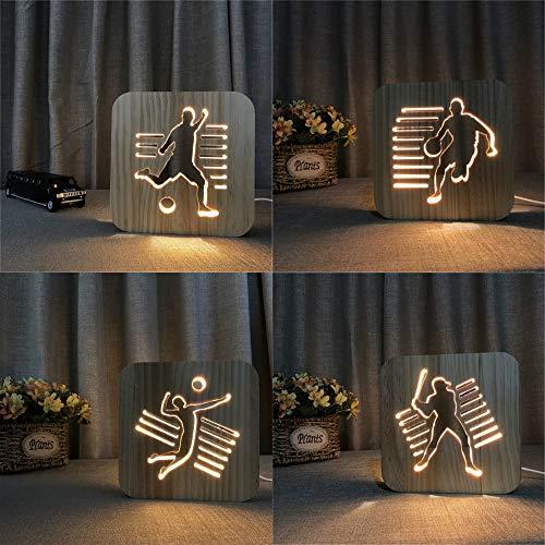 en Bois Sport Nuit lumière personnalisé Lampe de Table Basket Volley-Ball Baseball Lampe Amis Anniversaire trophée Cadeau