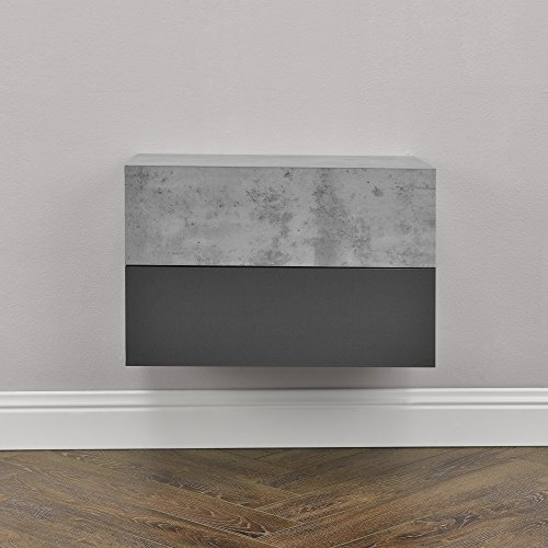 [en.casa] Set de 2 Mesitas de Noche de Pared con cajón - Aspecto de hormigón/Gris Oscuro - 46x30x15cm