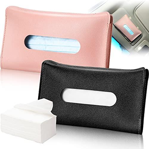 Frienda 2 Pieces Car Tissue Holder Visor Mask Holder Sun Visor Napkin Holder, PU Leather Tissues Box, Car Visor Tissue Paper Storage Cases for Vehicle Auto (Pink and Black)