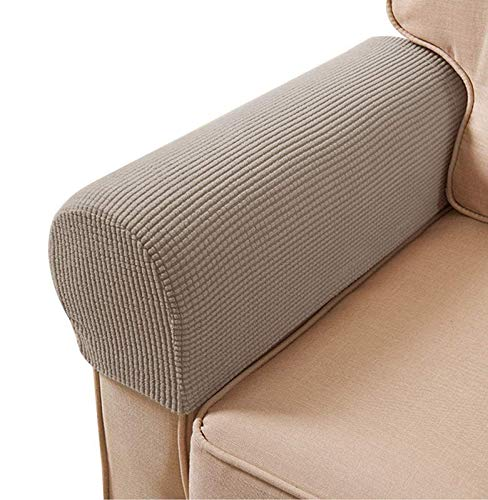 Arm Rest Covers Set, Pack of 4 Stretch Armchair Arm Covers Soft Polyester Arm Caps Non Slip Furniture Protector For Chair, Sofa, Couch(Sand)